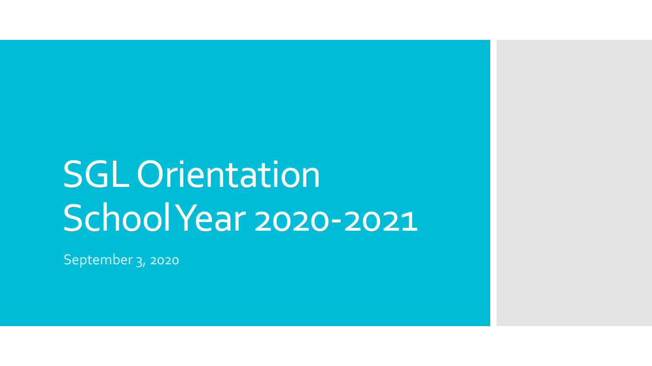 Picture of orientation slide presentation.