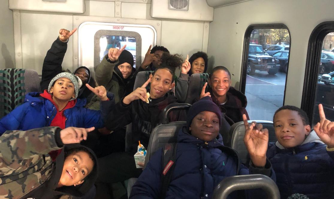 Football team on a bus.