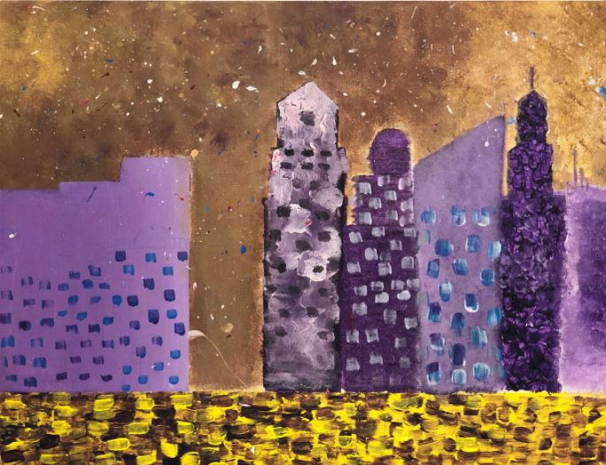 painting of purple buildings done by camari k.