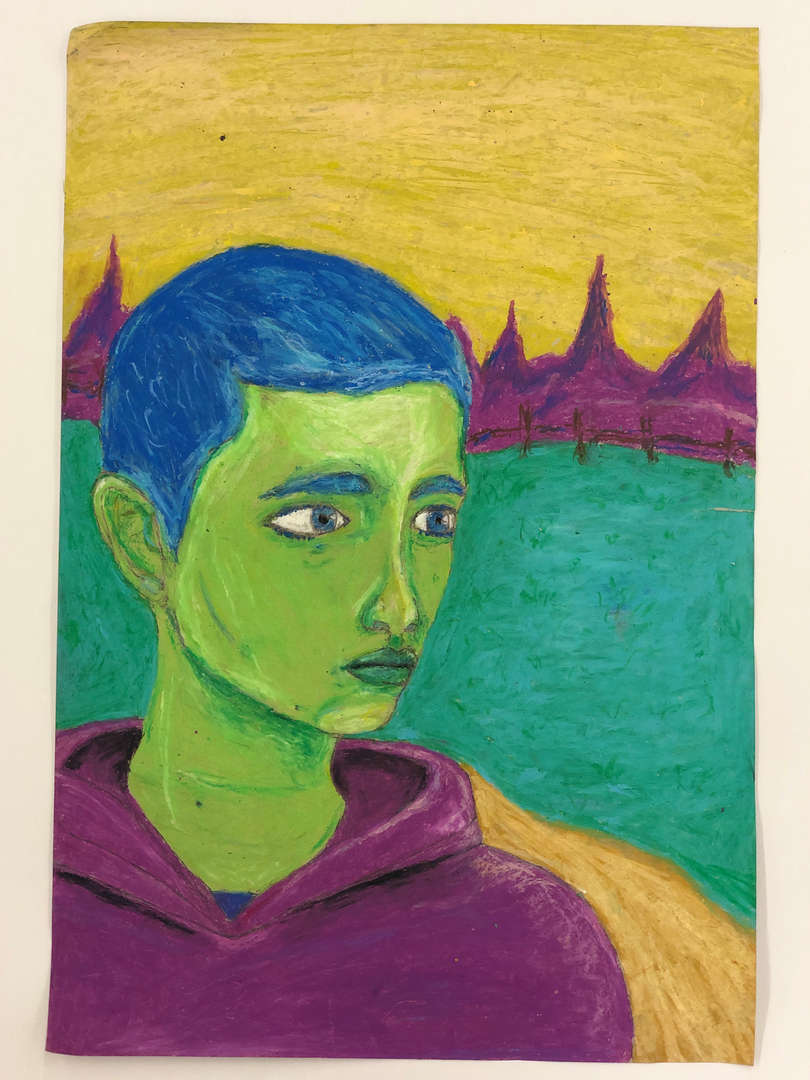Artwork of a man with a green face and blue hair done by Mark R.