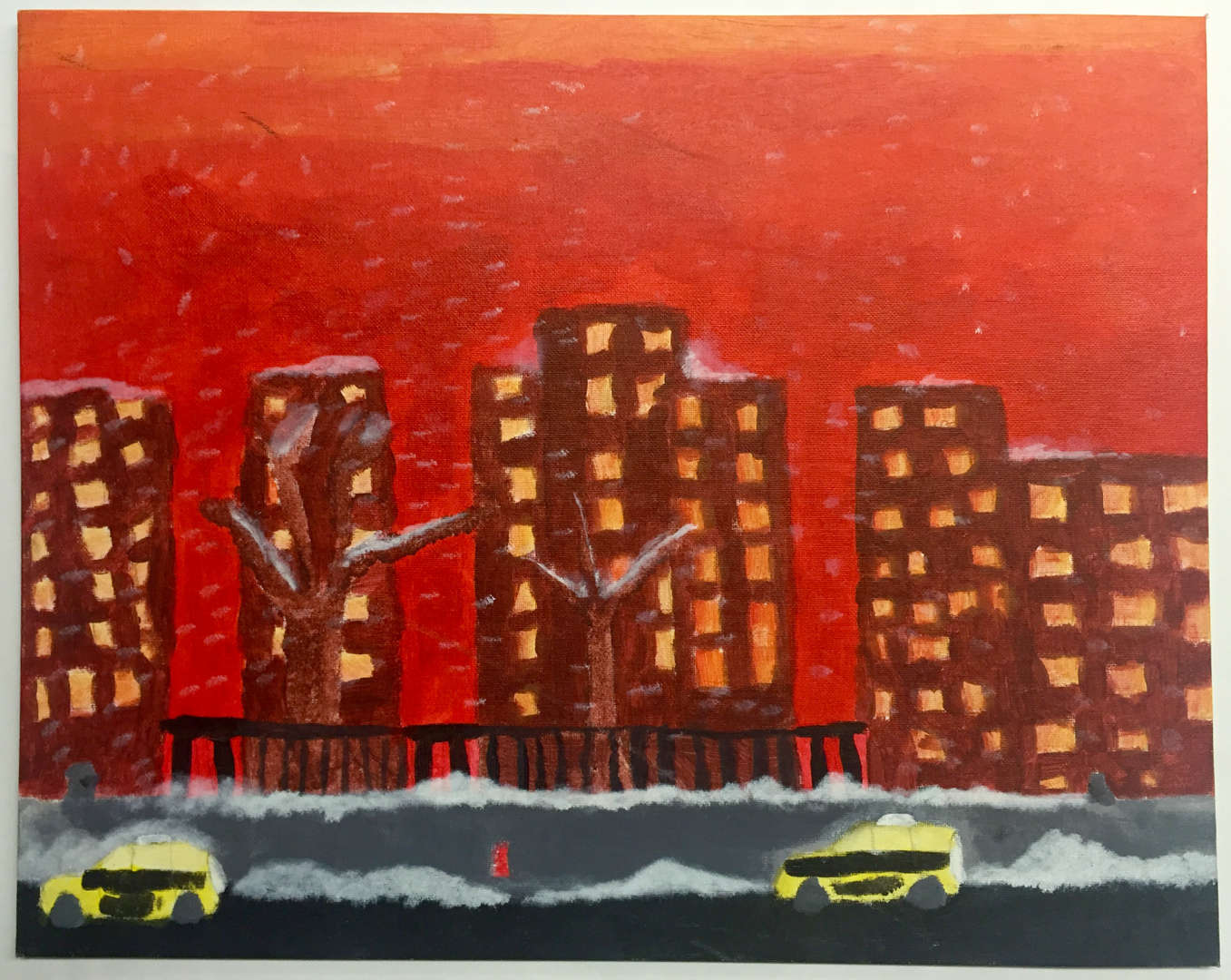 painting of building with a red background