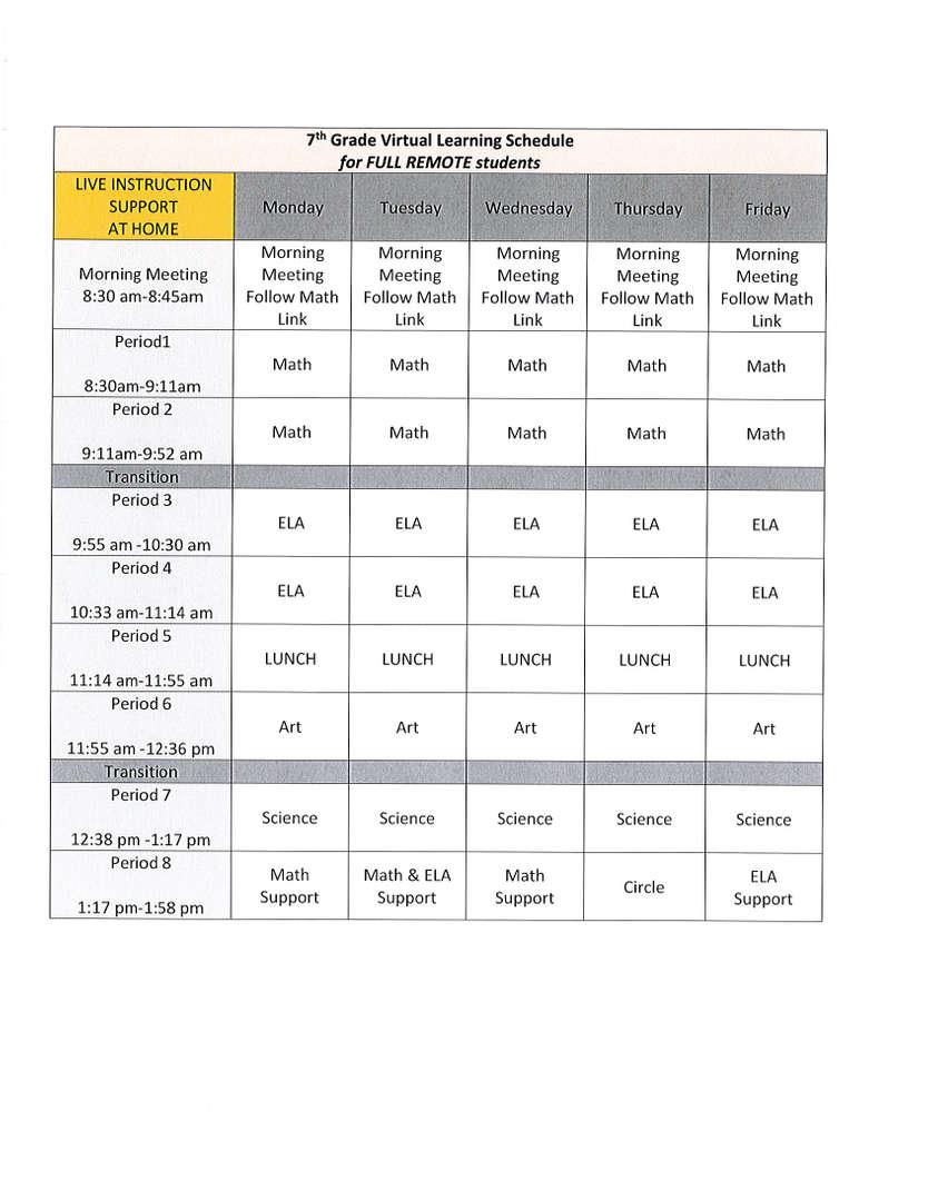 7 remote schedule