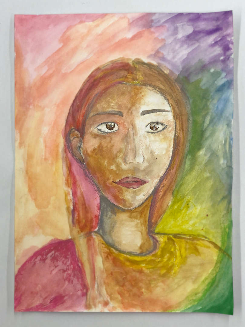 Artwork of multiple colors picturing a female's face done by Dan L.