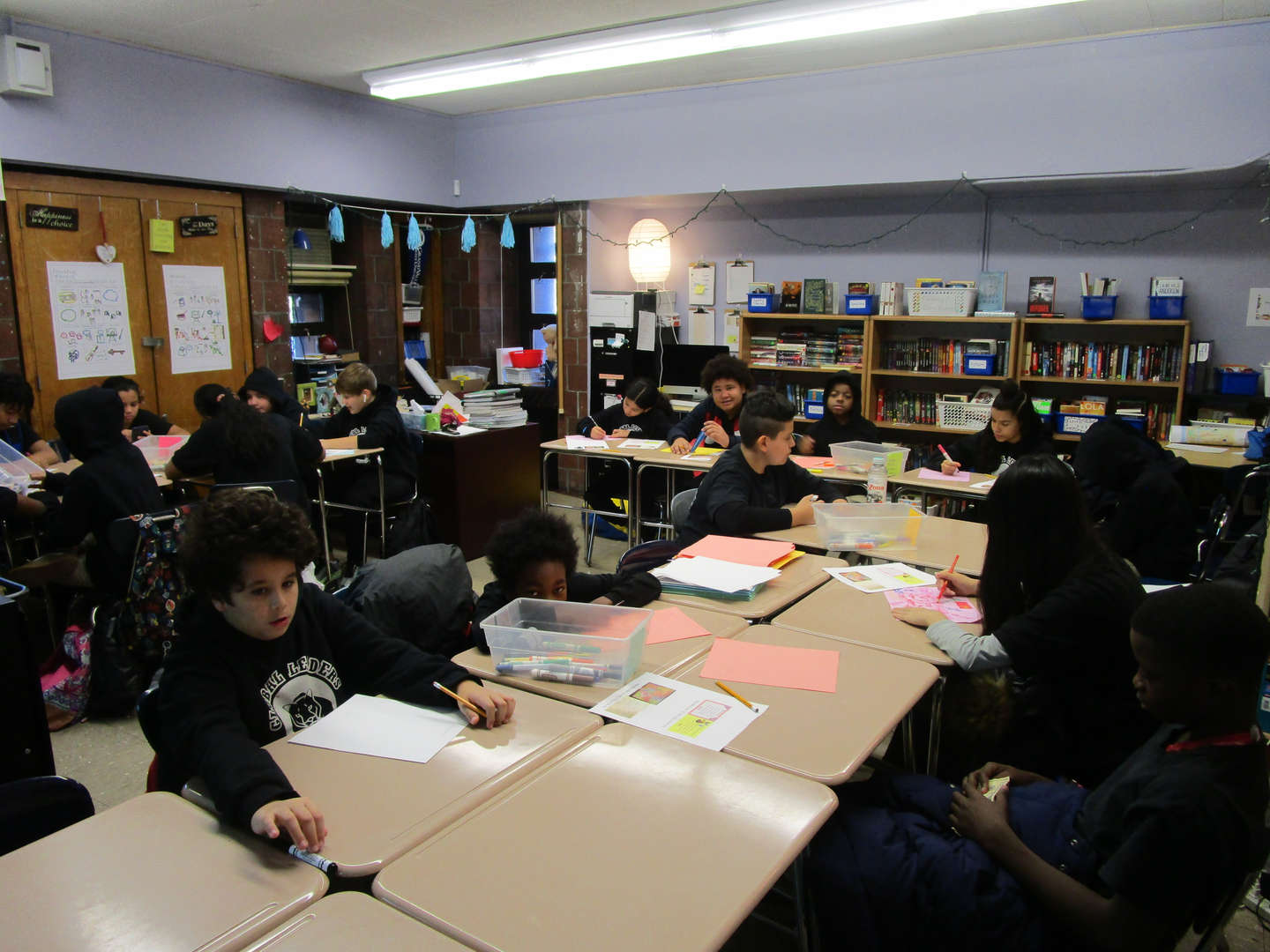 Students in a classroom working.