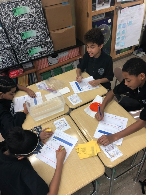 Students working in a group at desk.
