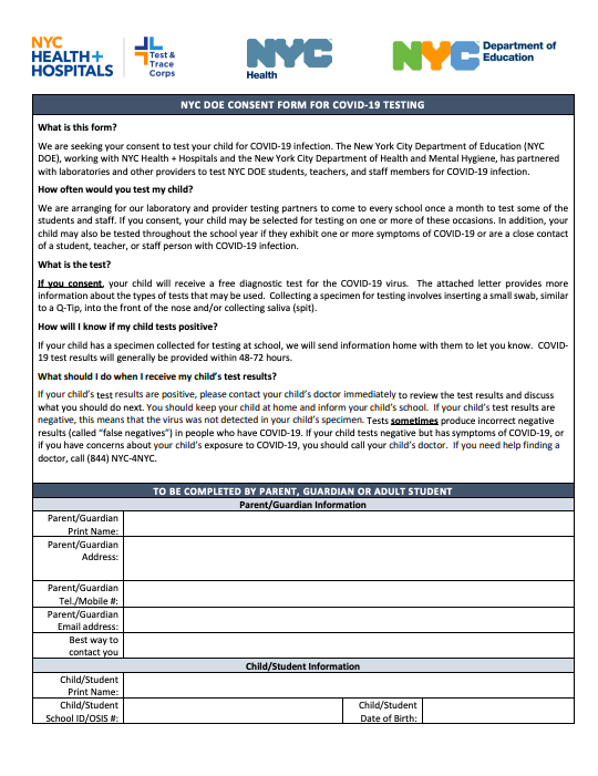 COVID Test Consent Form