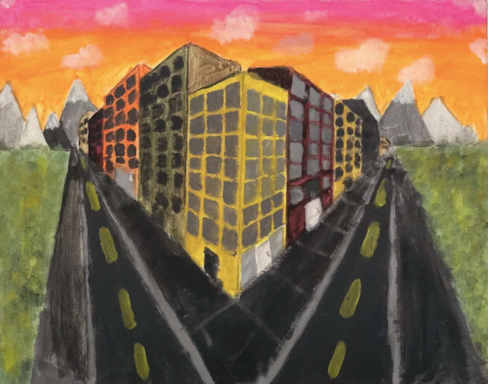 Colorful painting of city buildings with no traffic on the street.