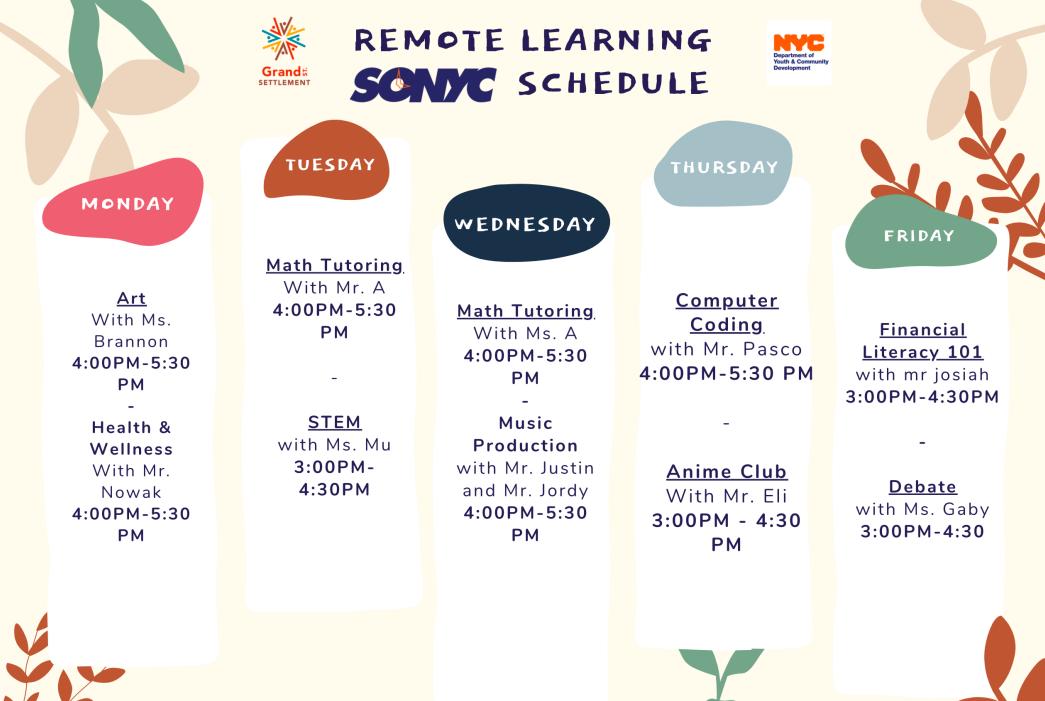 SONYC's schedule