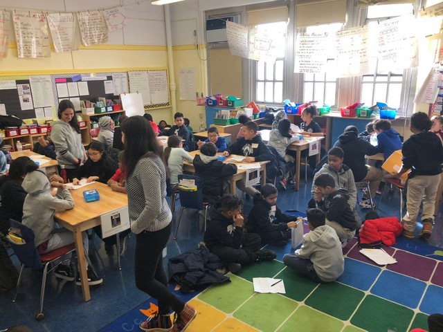 Students from one school visits students from another school.