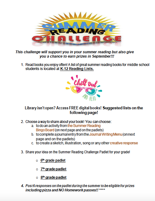 Picture of first page of reading challenge