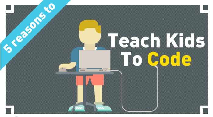Teach Kids to Code Logo Little Boy Sitting at a computer