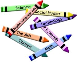 Crayons with various school subjects printed on each crayon