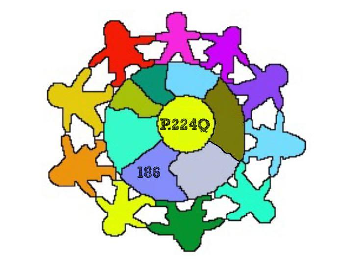 school logo with children holding hands around a globe - P224Q / 186