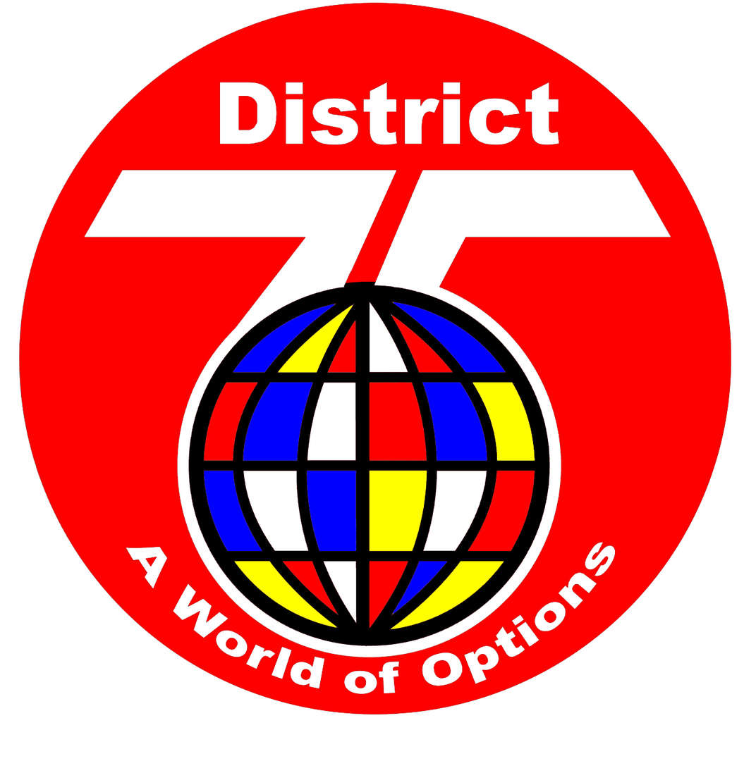 District 75 Logo a 75 over a red circle with a colorful globe in front of it.