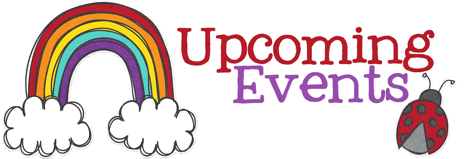 """Logo with a Rainbow and butterfly that says """"Upcoming Events""""."""