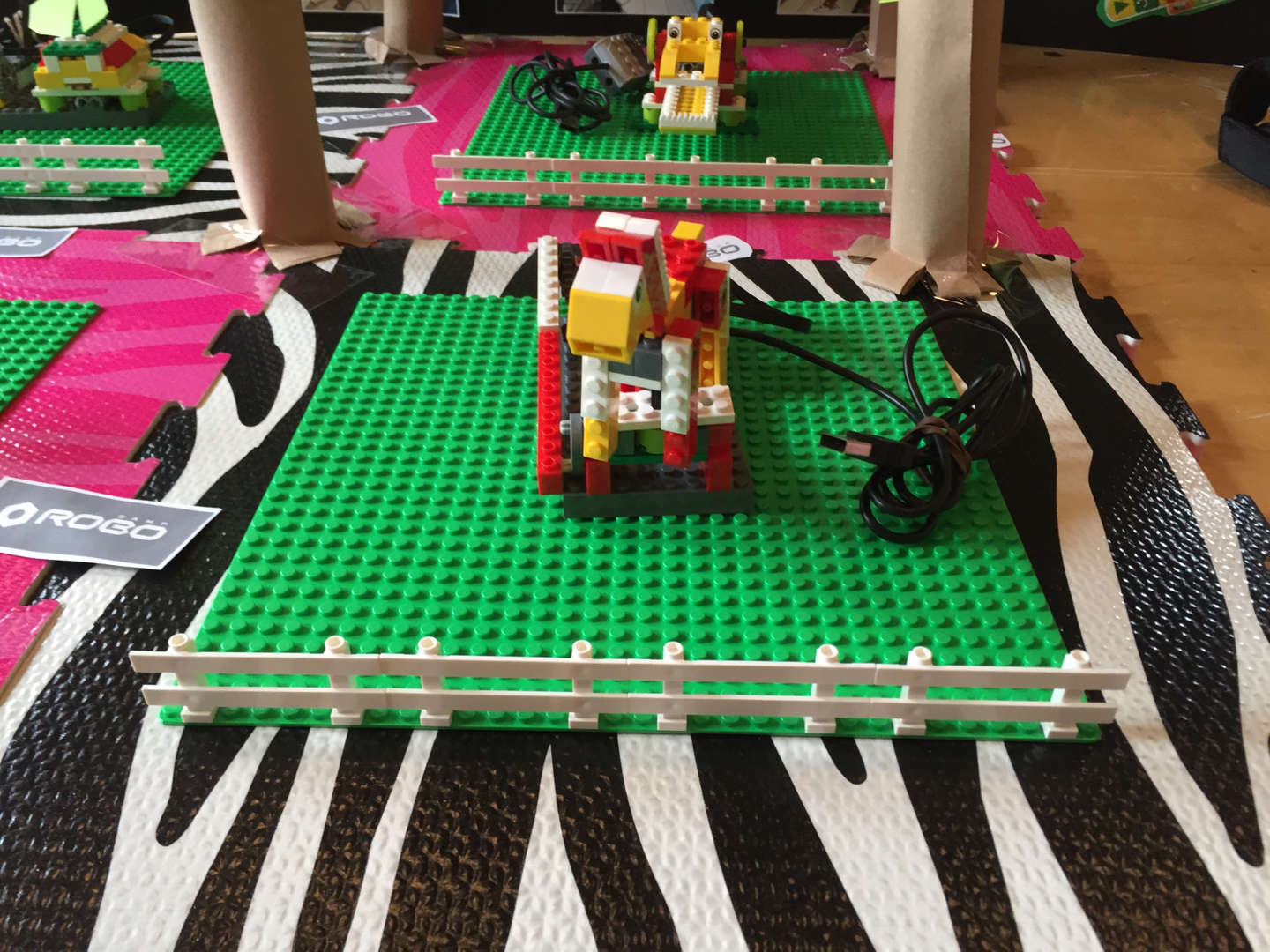 Students show how the Lego software can be programmed to move small pieces of an animal.