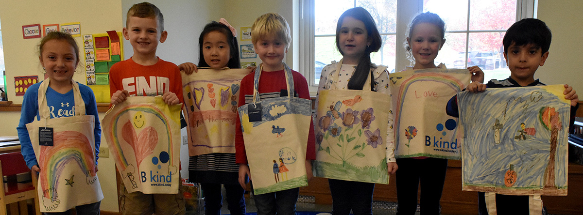 Painting bags for World Kindness Day