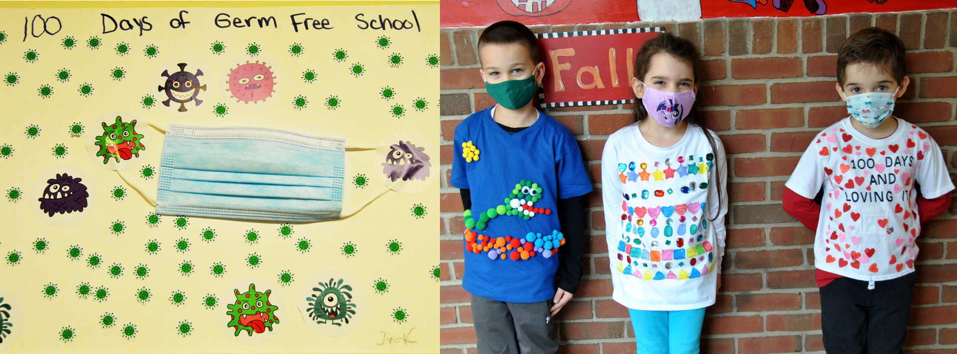 Three Children wearing t-shirts with 100 items on them.