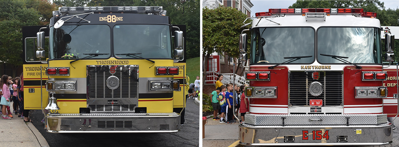 Trucks from the Hawthorne and Thornwood Fire Departments