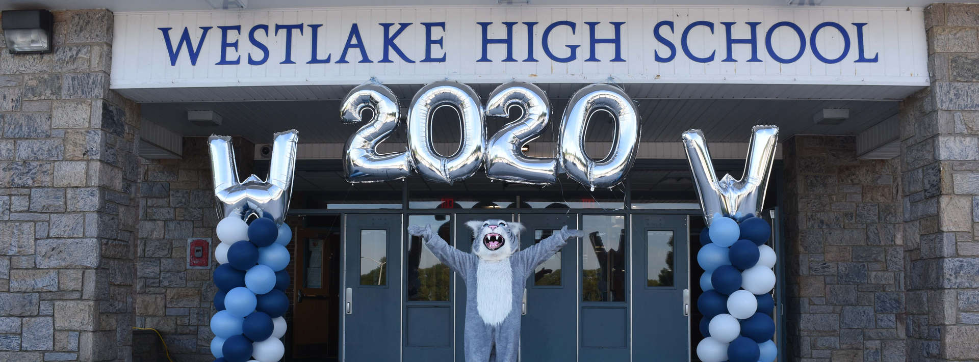 Wildcat mascot poses under 2020 balloons on front steps of WHS