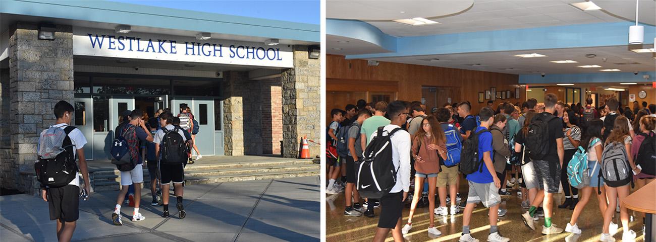 Students enter Westlake High School. Students in lobby of Westlake High school