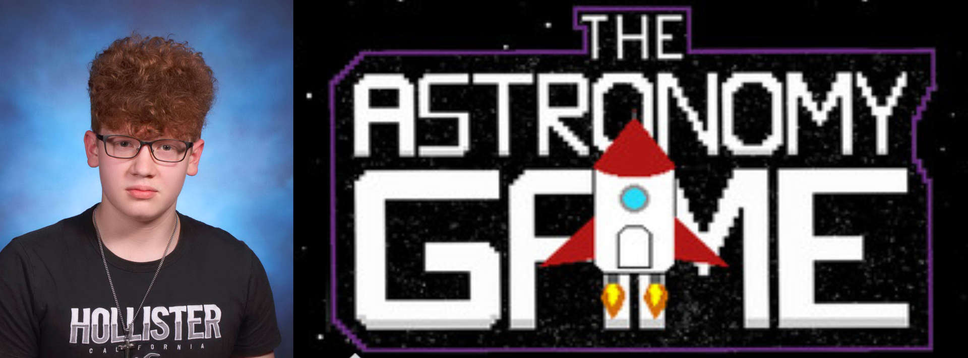 """Matthew Pena next to the cover art for his new game """"The Astronomy Game"""""""