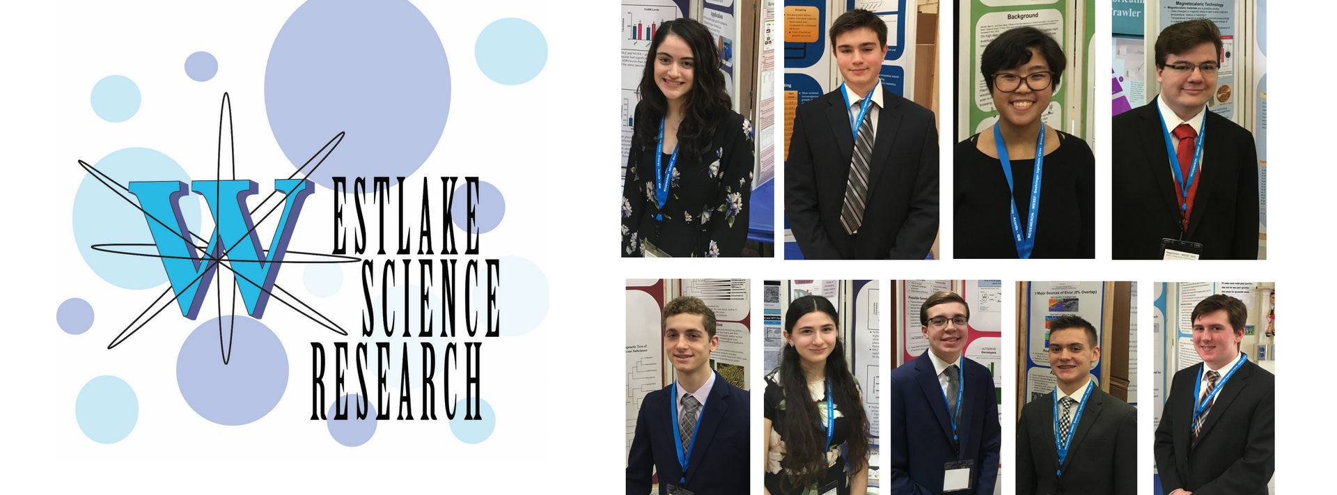 9 Seniors pose with science research posters