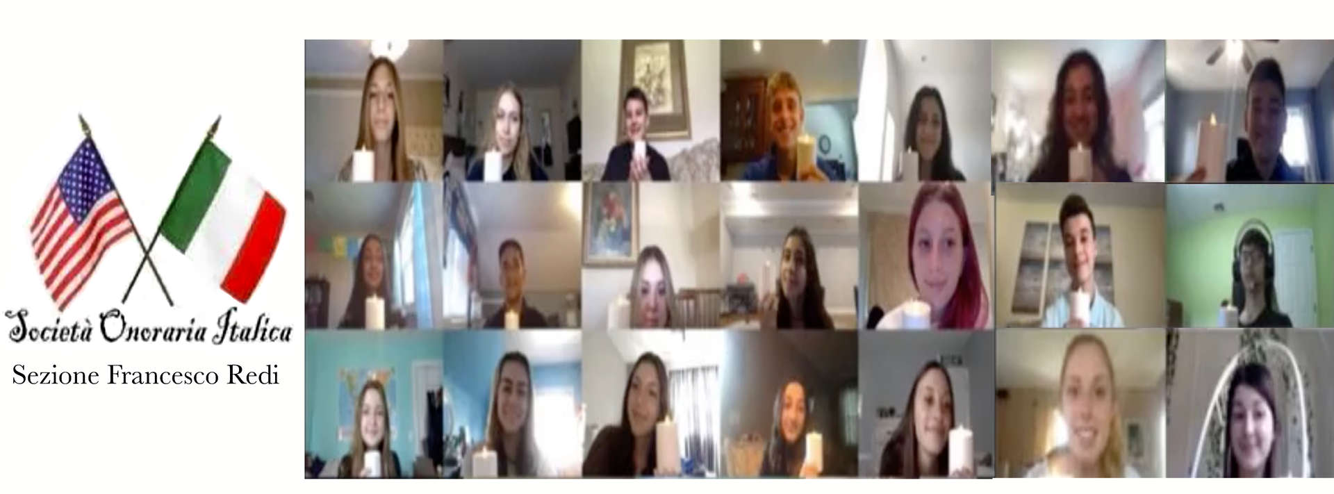 Montage of 21 students on zoom call