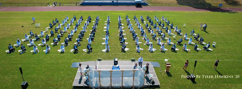 aerial shot of Westlake High School Graduation ceremony
