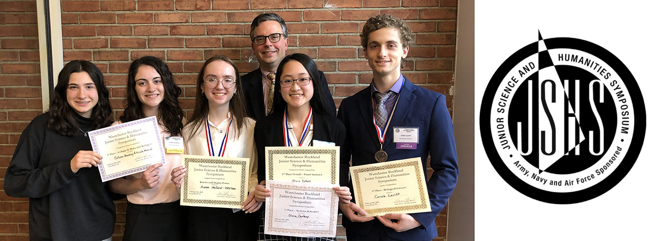 5 students and teacher pose with awards for science research competition