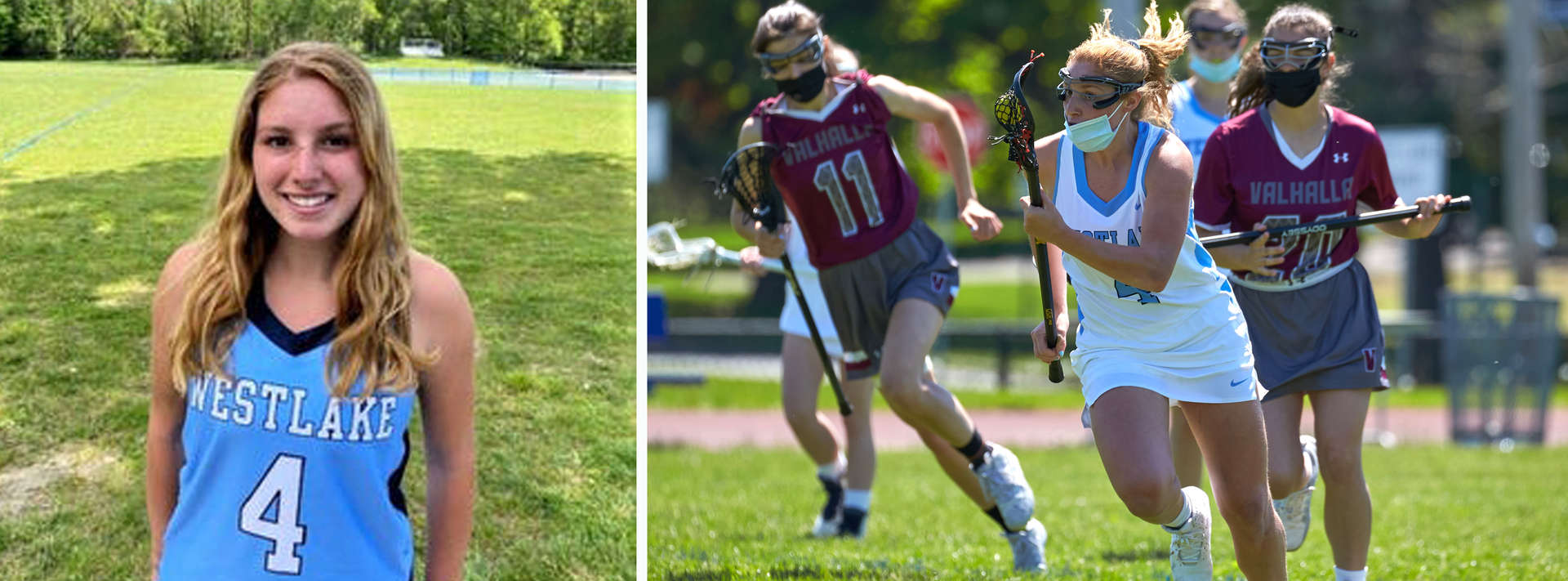 Girl in lacrosse jersey and girl playing lacrosse