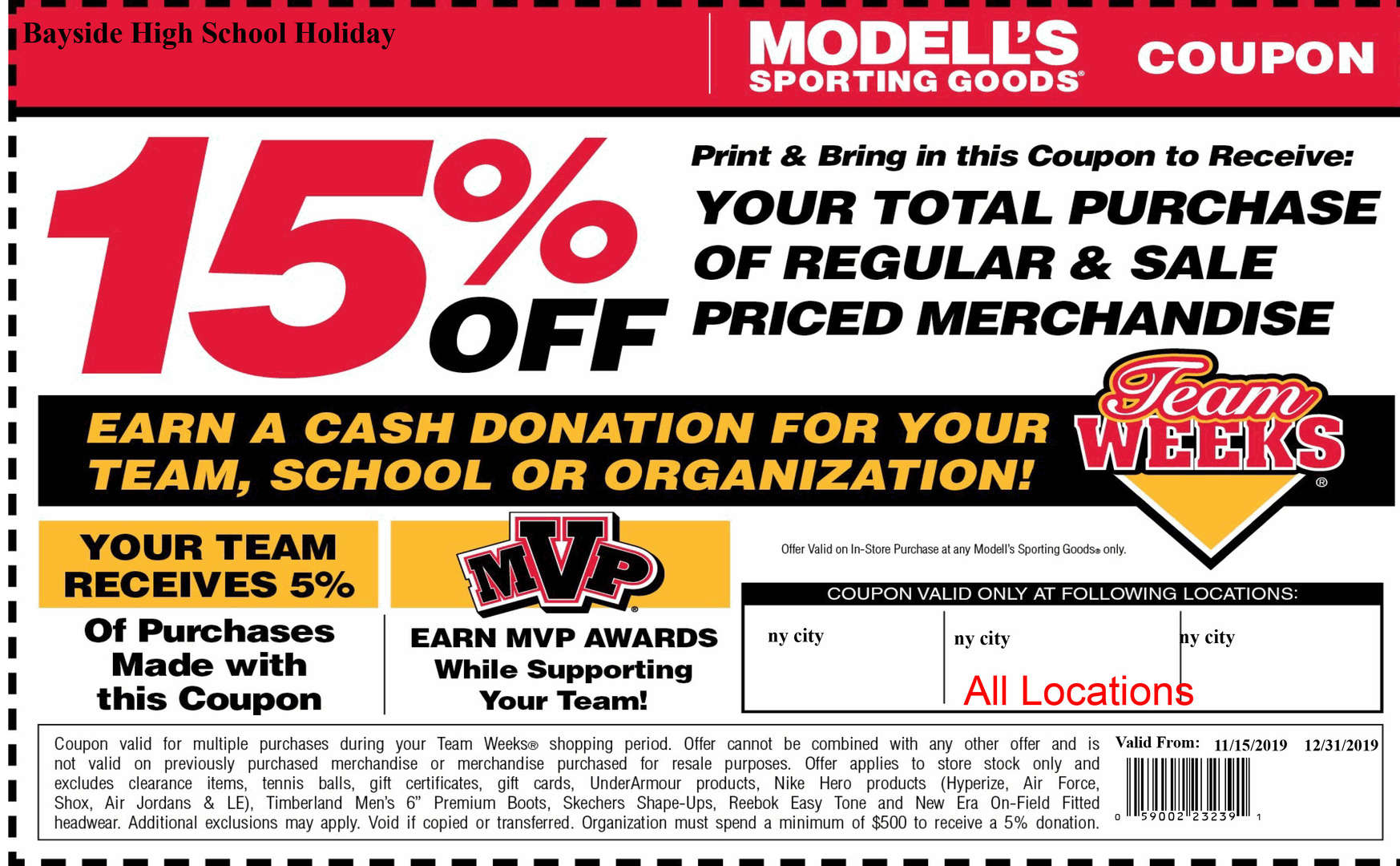 Modell's coupon