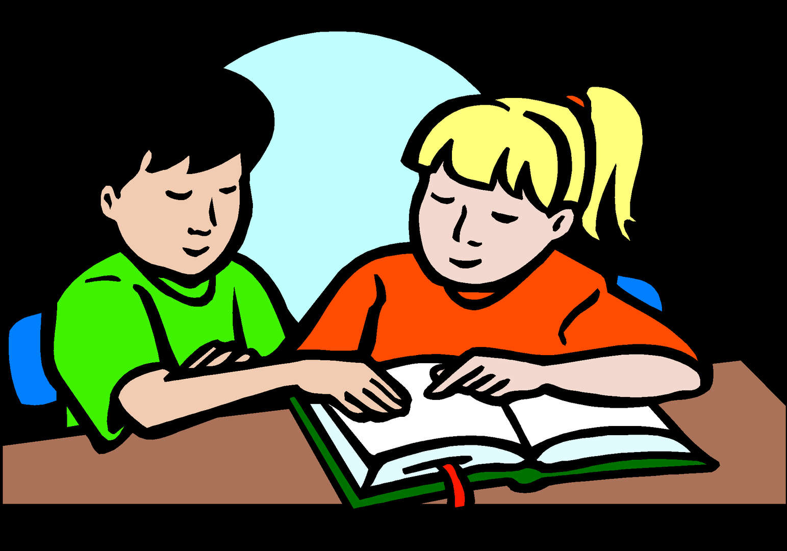 Two students reading a book together