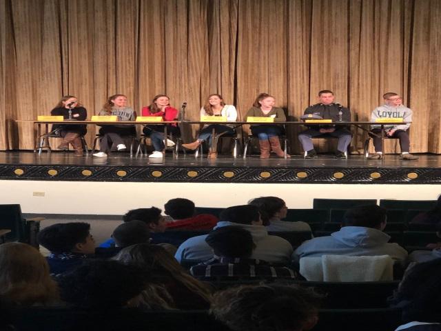 Class of 2018 Alumni Panel speak with THS seniors.