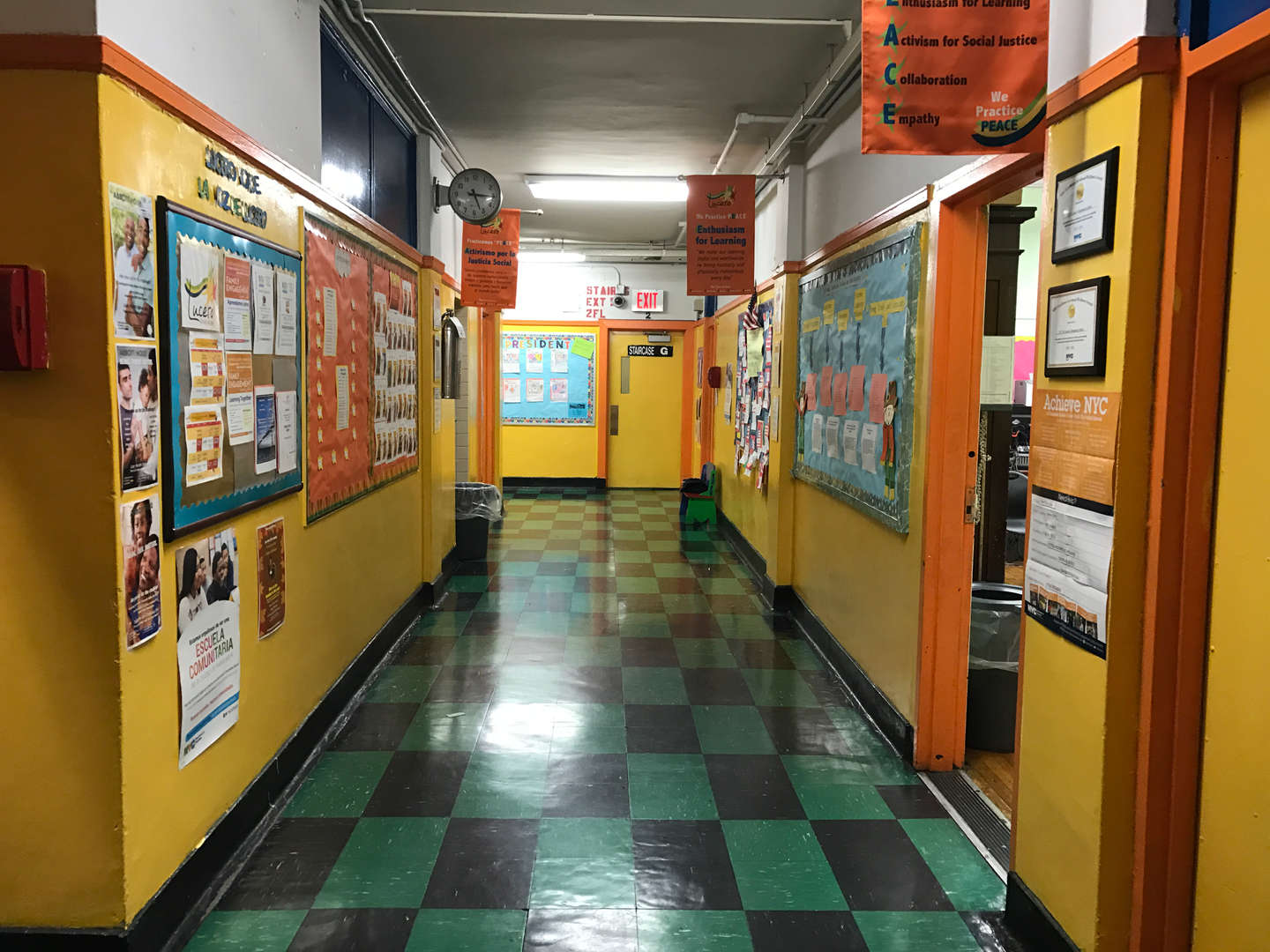 A view of an interior hallway of the school.