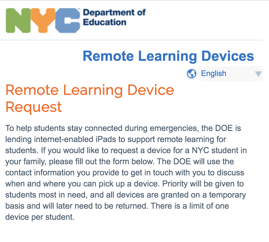 Link to the Remote Learnind Device Request page that opens in a separate tab.