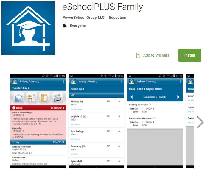 Screenshot of eSchoolFamilyPlus App