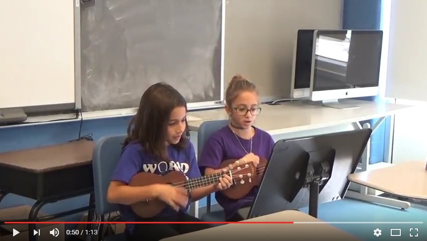 6th grade students playing original ukulele song.
