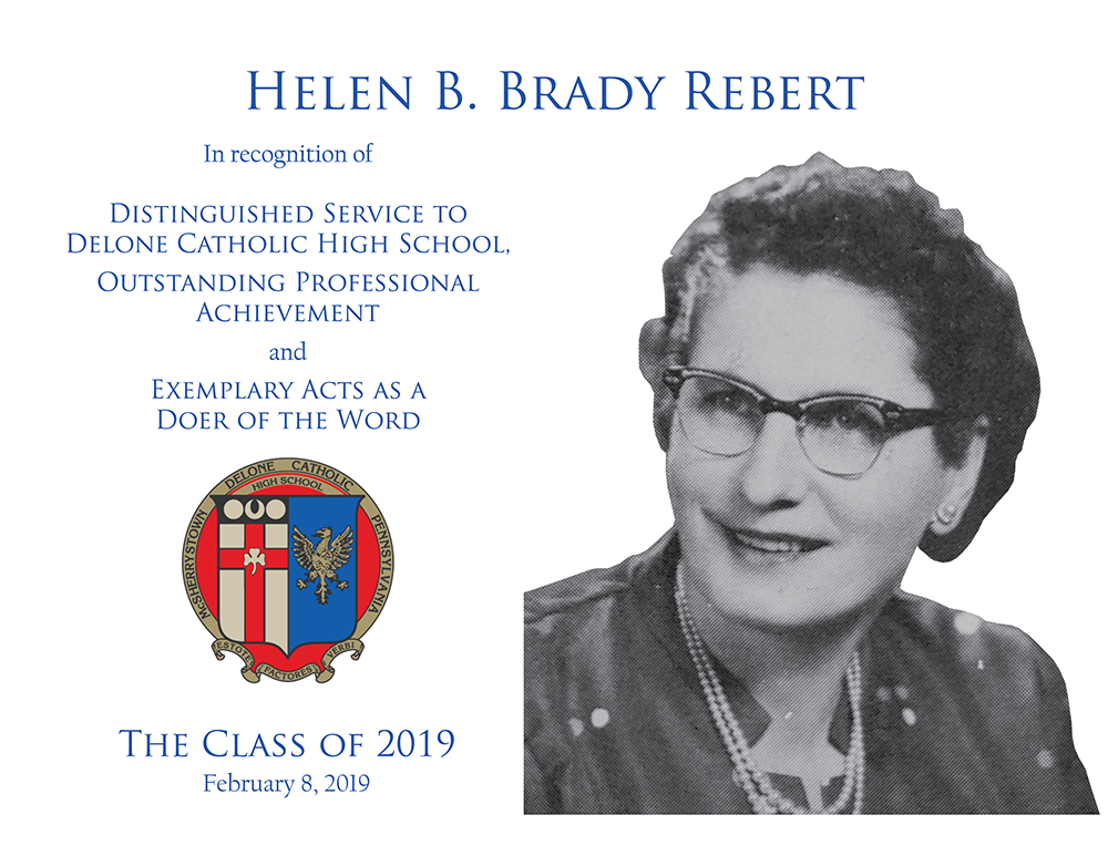 Helen B. Brady Rebert Plaque