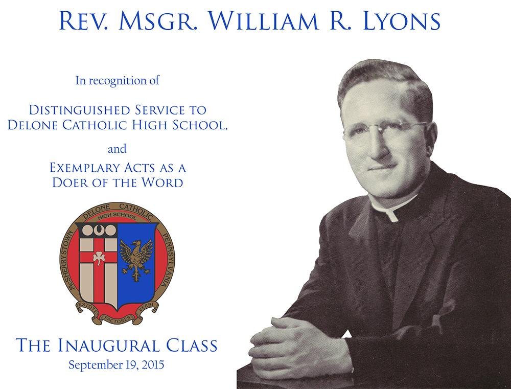 Rev. Msgr. William R. Lyons Plaque