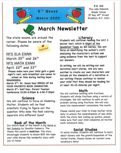 Fifth Grade March Newsletter