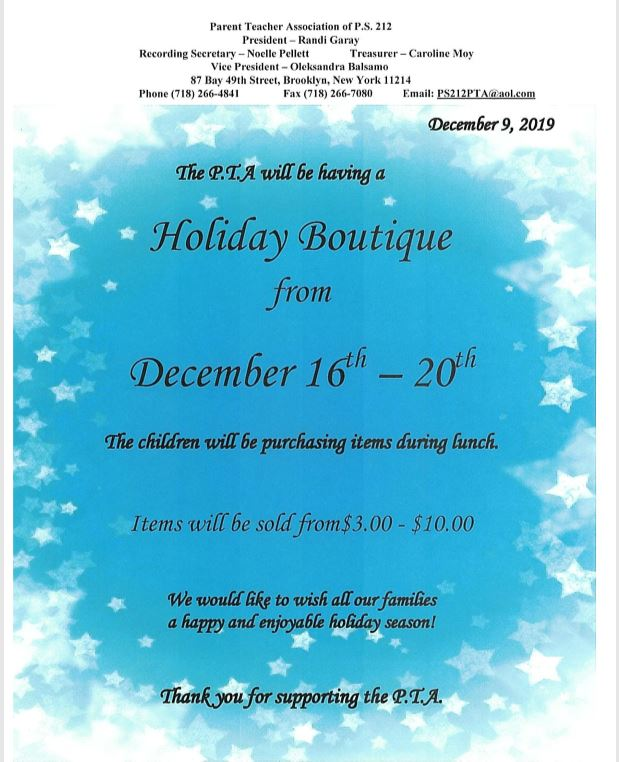 Holiday Boutique from  December 16th - 20th  Items will be sold from $3 - $10