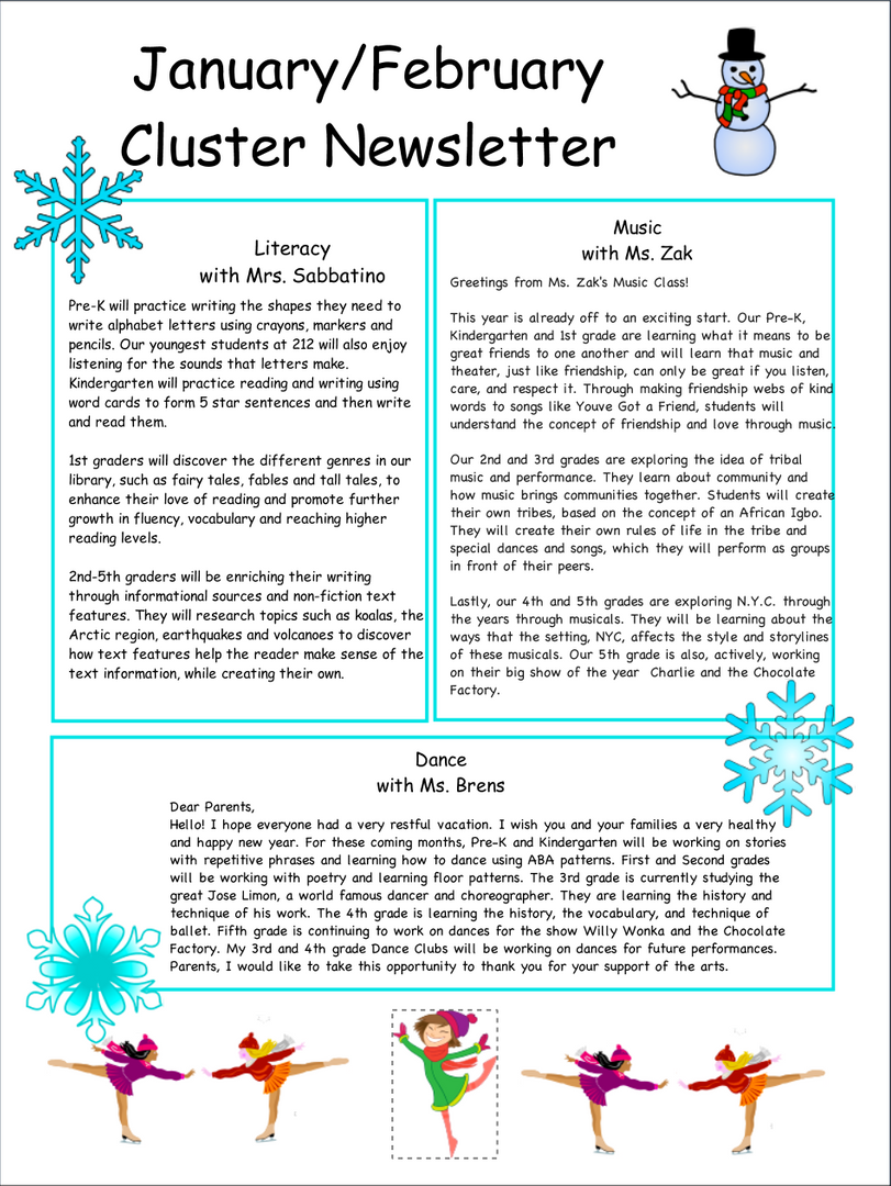 Clusters Grade Newsletter Continued...