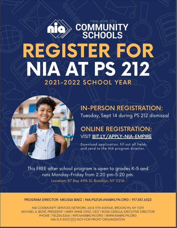 NIA FLyer with information about after school Male student with backpack