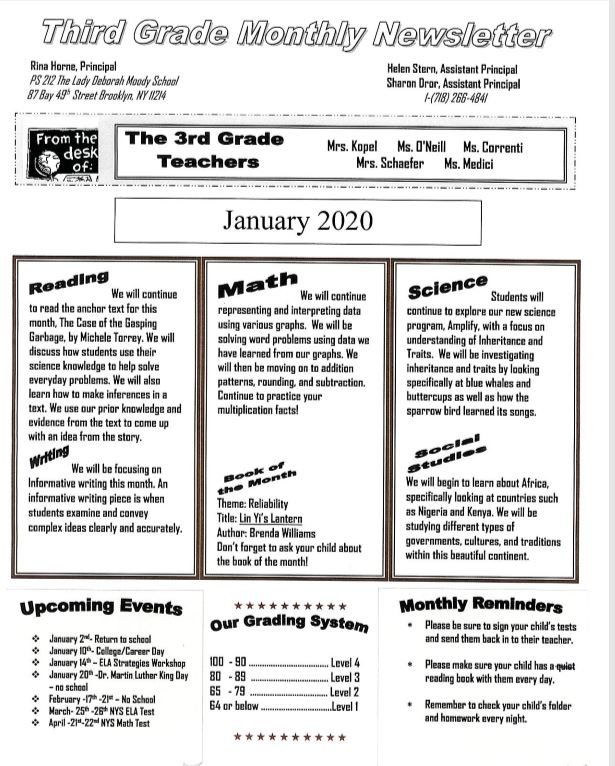 Third Grade January News Letter