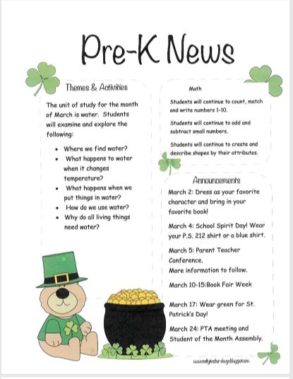 Pre-K March Newsletter