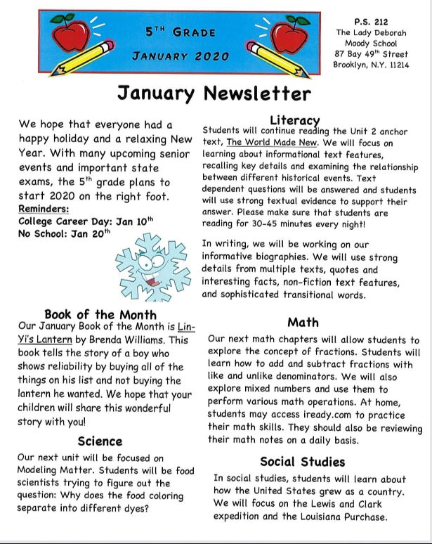 Fifth Grade January News Letter