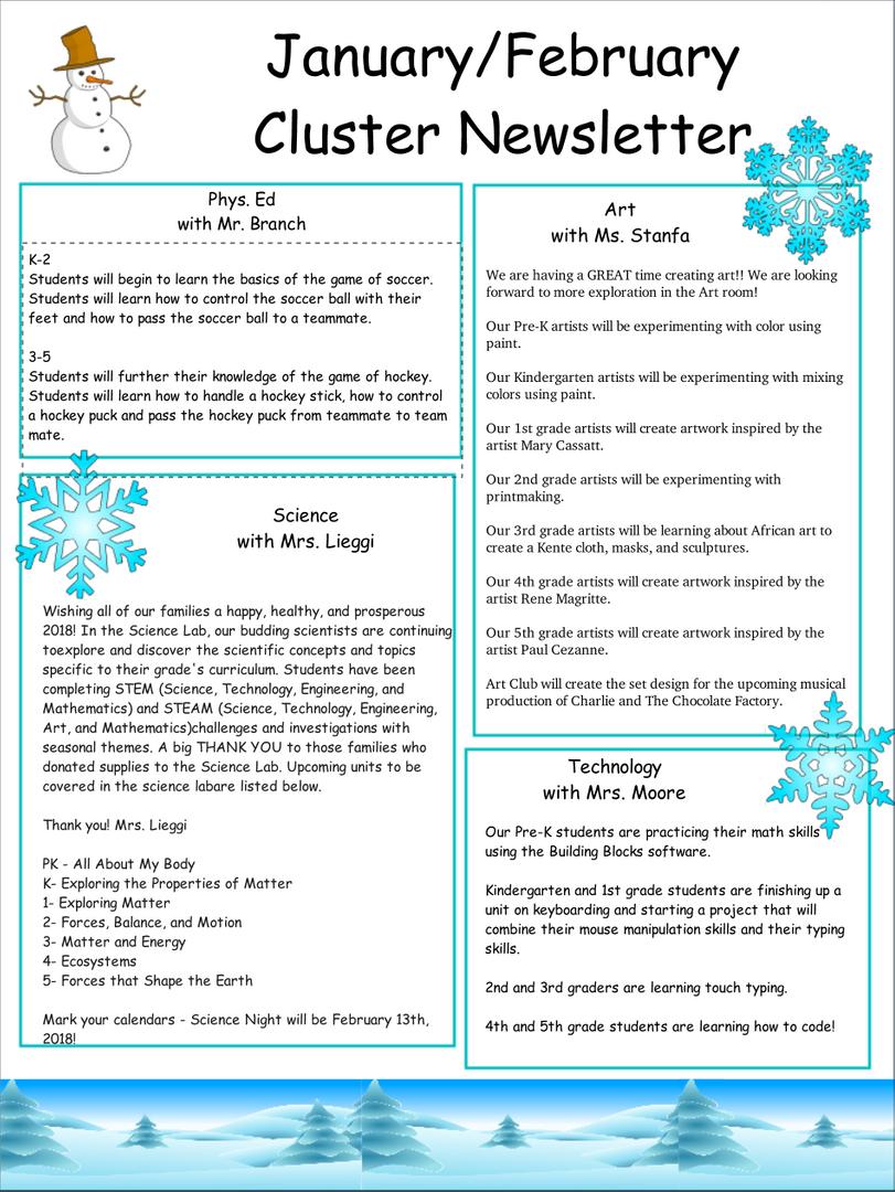 Clusters Grade Newsletter
