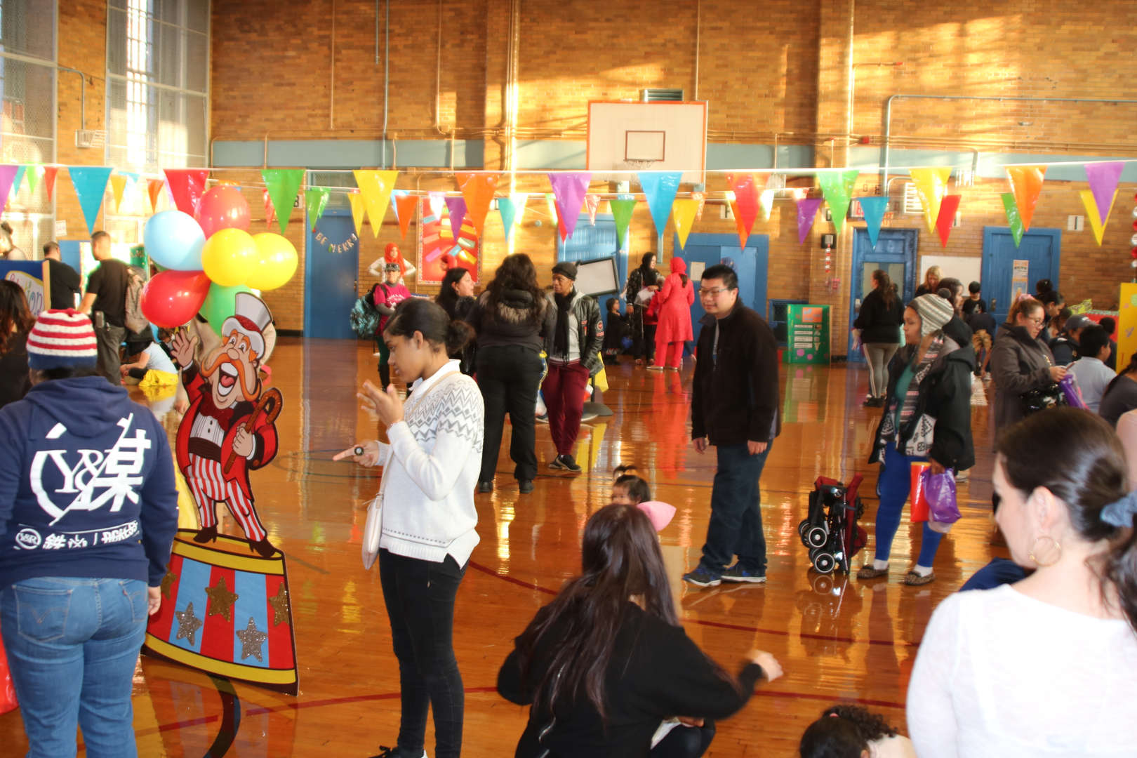 Families at school event