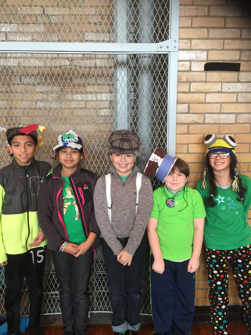Students wearing Crazy hat Day!